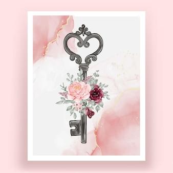 Na białym tle klucz z kwiatami akwarela