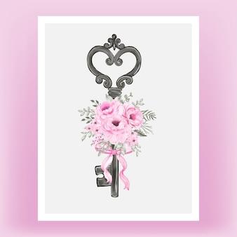 Na białym tle klucz z różową wstążką i różami akwarela ilustracja