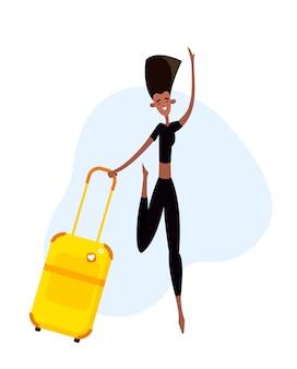 Na białym tle kobieta z walizką w stylu cartoon płaski