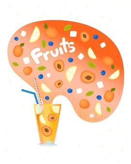 Na białym tle koktajl z cytryną, morelą i jeżynami z pop-upem. jagody w próżni. koktajl z logo do baru.