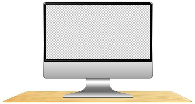 Na białym tle komputer z pustym ekranem