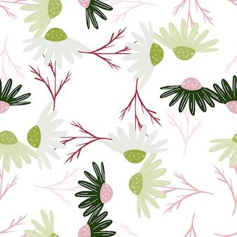Na białym tle kwiatowy wzór z kwiatami losowych elementów nagietka