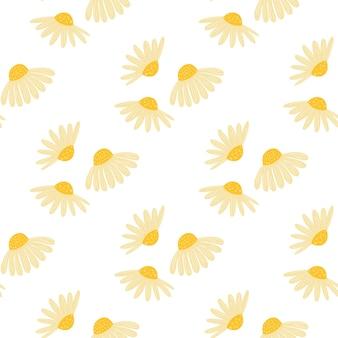 Na białym tle lato bezszwowe botanika wzór z ozdobnymi żółtymi kwiatami rumianku kształtami
