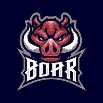 Na białym tle logo maskotka głowa dzika dla sportu i e-sportu