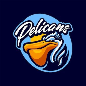 Na białym tle logo maskotka głowy pelikana dla sportu i e-sportu