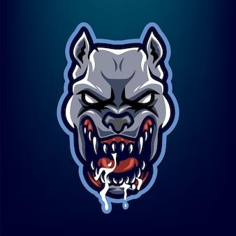 Na białym tle logo maskotki głowy pitbull dla sportu i e-sportu