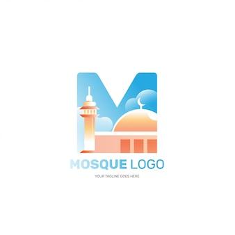 Na białym tle logo meczetu dla marki islamskiej firmy muzułmańskiej