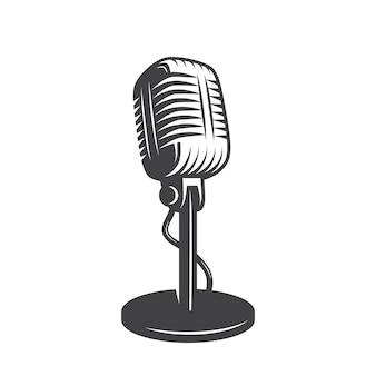 Na białym tle mikrofon retro, vintage.