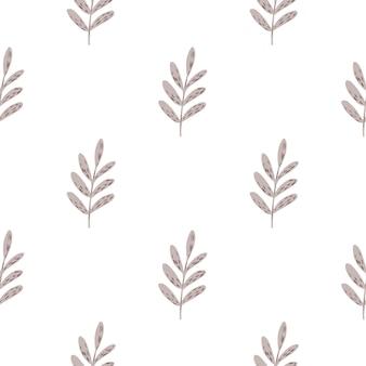 Na białym tle minimalistyczny botaniczny wzór z gałęziami liht fioletowe liście. proste sylwetki liści. płaski nadruk wektorowy na tekstylia, tkaniny, opakowania na prezenty, tapety. niekończąca się ilustracja.