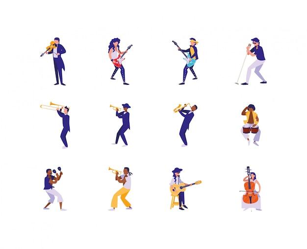 Na białym tle muzyków z zestawem ikon instrumentów muzycznych