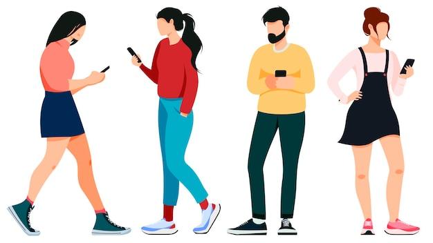 Na białym tle na biały kobiet i mężczyzn za pomocą smartfona w płaskiej konstrukcji