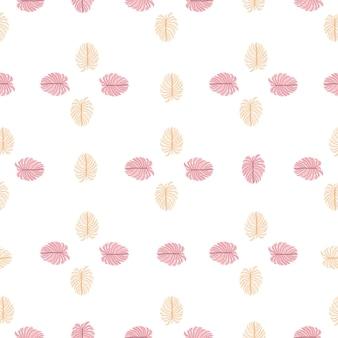 Na białym tle natura egzotycznych palm wzór z doodle różowy monstera liści ornament. prosty styl.