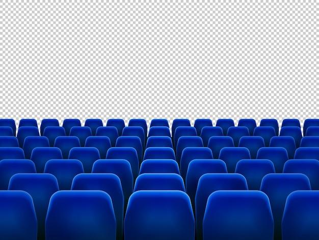 Na białym tle niebieskie fotele do kina