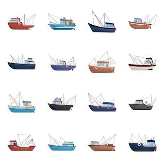 Na białym tle obiekt łodzi i połowów. ustaw symbol zapasów łodzi i statków.