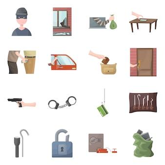 Na białym tle obiekt logo przestępcy i policji. kolekcja zestawu kryminalnego i napadu