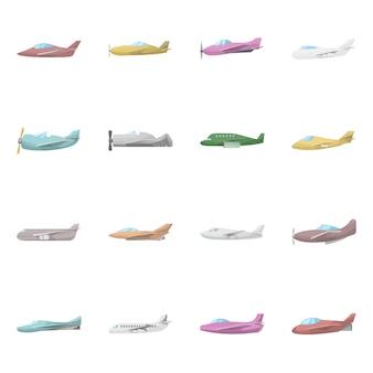 Na białym tle obiekt samolotu i znak handlowy. kolekcja symbol zapasów samolotów i lotnictwa dla sieci web.