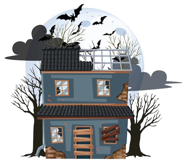 Na białym tle opuszczony dom halloween