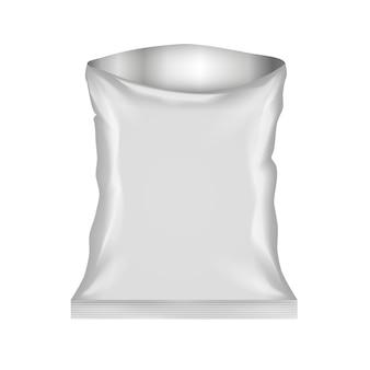 Na białym tle otwarta plastikowa torba