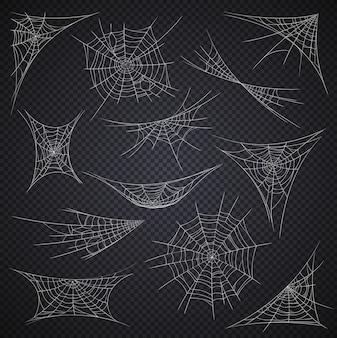 Na białym tle pajęczyna i pajęczyna, dekoracje na wakacje halloween na przezroczystym tle wektor. pajęczyny z kreskówek lub lepkie sieci na rogach, upiorny wystrój halloweenowej nocy horroru