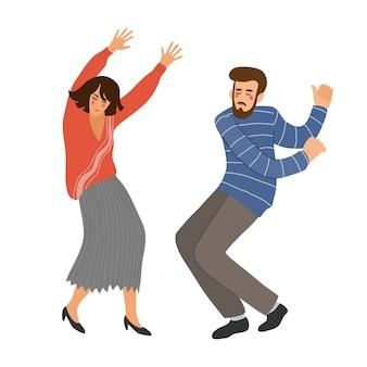 Na białym tle para tańca. ludzie w tańcu. śliczna wektorowa ręka remisu ilustracja