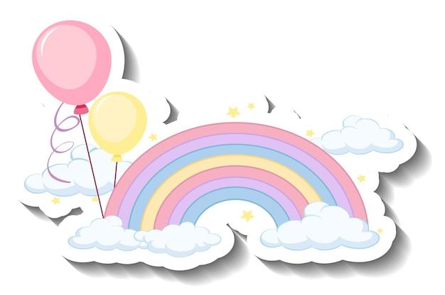Na białym tle pastelowa tęcza z balonową naklejką z kreskówek