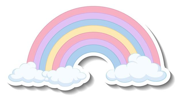Na białym tle pastelowa tęcza z naklejką z chmurami