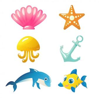 Na białym tle podwodne zwierzęta i elementy