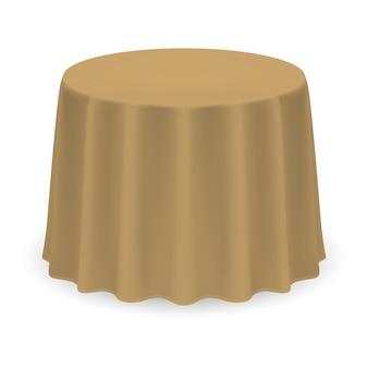 Na białym tle pusty okrągły stół z obrusem w kolorze beżowym
