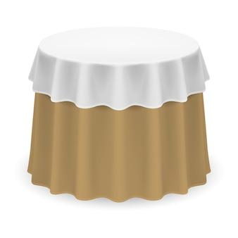 Na białym tle pusty okrągły stół z obrusem w kolorze białym i beżowym