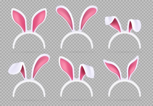 Na białym tle realistyczne uszy królika. śmieszne maski króliczka wielkanocnego