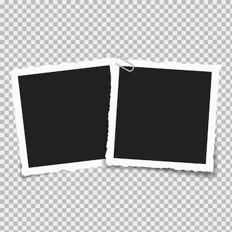 Na białym tle realistyczne zdjęcia w kwadratowych ramkach