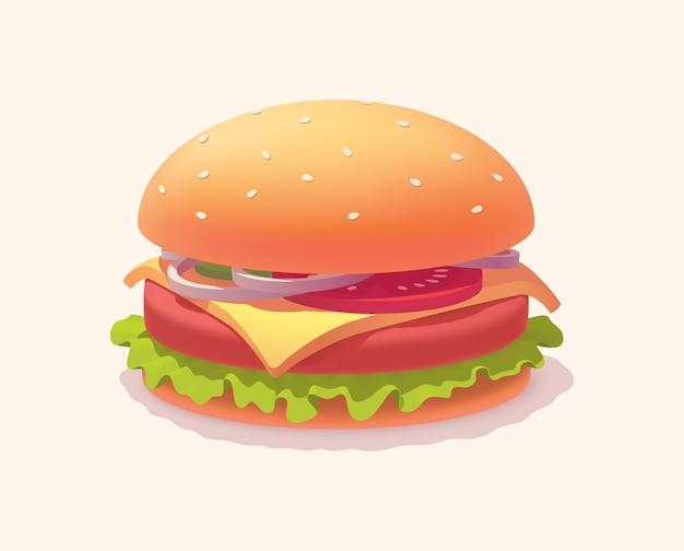 Na białym tle realistyczny klasyczny hamburger cheeseburger.