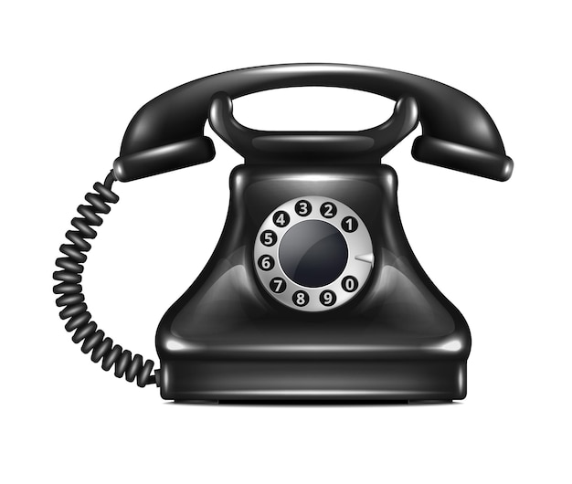 Na białym tle realistyczny telefon retro