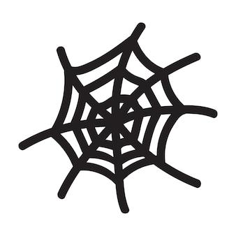 Na białym tle ręcznie rysowane ilustracji wektorowych pajęczyna w stylu bazgroły. element halloween na projekt festiwalu, zaproszenie, kartkę z życzeniami, plakat.