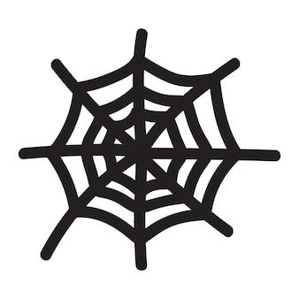 Na białym tle ręcznie rysowane ilustracji wektorowych pajęczyna w stylu doodle halloween element na festiwal des...