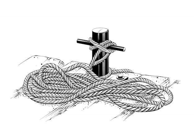 Na białym tle rysunek liny cumowniczej w kolorze czarnym.