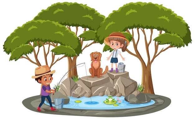 Na białym tle scena z dziećmi łowiącymi ryby w stawie