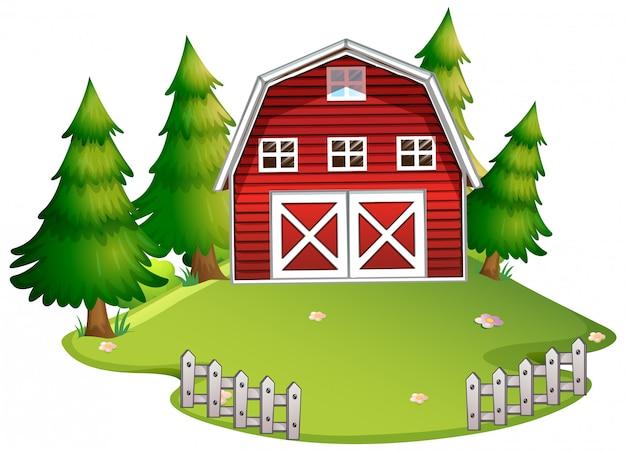 Na białym tle stodoła w przyrodzie