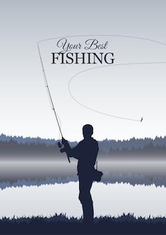 Na białym tle sylwetka rybaka na tle jeziora mglisty poranek