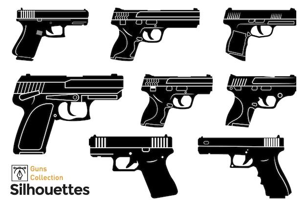 Na białym tle sylwetki broni palnej. pojedyncze pistolety.