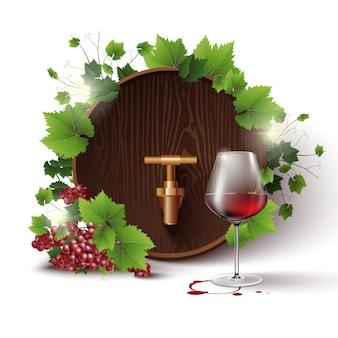 Na białym tle szablon z beczki na wino