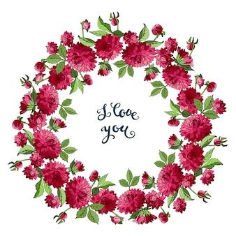 Na białym tle wieniec z czerwonych kwiatów dalii i kocham cię napis