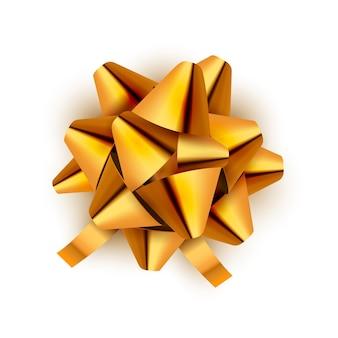 Na białym tle wstążka złoty łuk. ilustracja na obchody urodzin karty. świąteczna dekoracja z kokardą w kolorze złotym na prezent świąteczny.