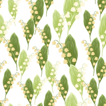 Na białym tle wzór bezszwowe z losowymi elementami kwiatów konwalii