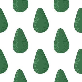 Na białym tle wzór doodle bez szwu z awokado prostych form