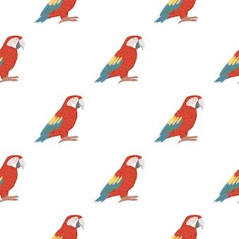 Na białym tle wzór ptaka bez szwu z jasnoczerwoną papugą