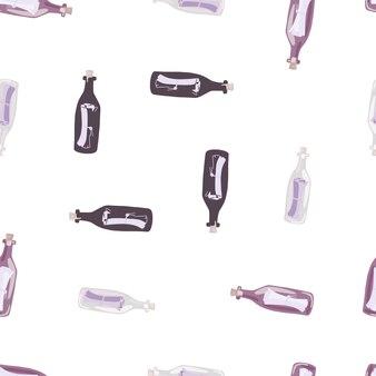 Na białym tle wzór z fioletową butelką z nadrukiem wiadomości. białe tło. ozdoba w prostym stylu. przeznaczony do projektowania tkanin, nadruków na tekstyliach, zawijania, okładek. ilustracja wektorowa.
