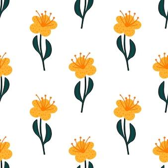 Na białym tle wzór z nadrukiem jasny żółty kwiat.