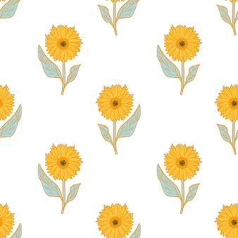 Na białym tle wzór z ornamentem jasny żółty słoneczniki.