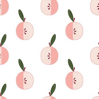 Na białym tle wzór z ornamentem kreskówka jasnoróżowe jabłko. białe tło. ilustracji. projekt wektor dla tekstyliów, tkanin, prezentów, tapet.